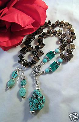 Turquoise Smokey Glass Beaded Necklace Set CAT RESCUE