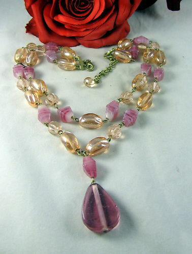 Pink & Peach Glass 2 Strand Beaded  Necklace CAT RESCUE