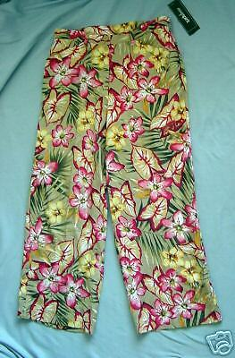 "Easy Spirit ""Figi"" Floral Silk/Linen Cropped Pants     MSRP $79     NWT   Size 8"