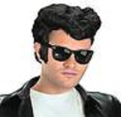 NEW!  50's Grease Danny  Style low Pompadour Costume Greaser Wig w/Sideburns!
