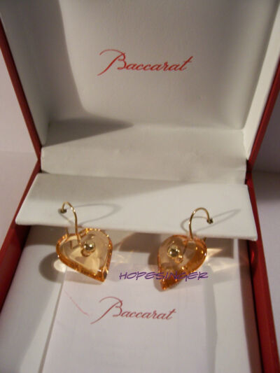 RARE NEW in BOX BACCARAT Crystal A LA FOLIE Honey Amber 18K Gold EARRINGS Wire