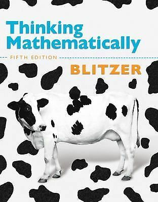 Thinking Mathematically, Fifth Edition, Blitzer, Robert F., Good Book