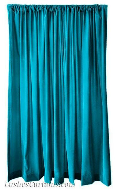 "216"" H Turquoise Velvet Curtain Long Panel Custom Extra Large Wall Cover Drapes"