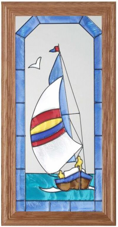 "Silver Creek Sailboat ~ 11.5"" x 22.5"" Boat Art Glass Suncatcher"