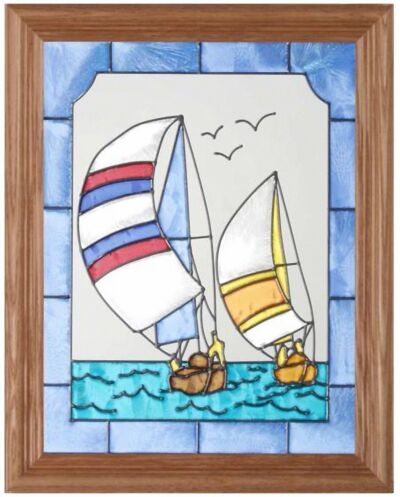 "Silver Creek Sailboat ~ 13.5"" x 16.5"" Boat / Nautical Art Glass Suncatcher"