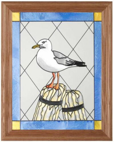 "Silver Creek Seagull ~ 13.5"" x 16.5"" Bird / Nautical Art Glass Suncatcher"