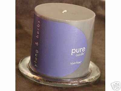 "4""x 4"" Ylang & Herb Scented Candle w/Candle Holder Set"