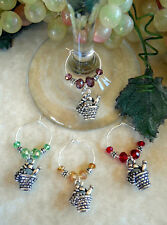 4 Wine & Grapes Picnic Basket ~ Wine Glass Charms- Oh Sew Cute Aprons and More