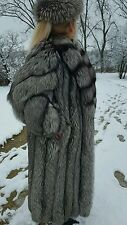 Silver Fox Fur Coat With Hat,Size L