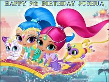 "SHIMMER AND SHINE DESIGN 3  PERSONALIZED 10 x 7.5"" ICING CAKE TOPPER"