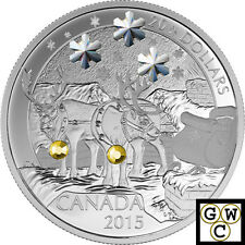2015 'Holiday Reindeer' Crystalized Proof $20 Silver Coin 1oz .9999 Fine (17470)