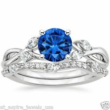 1.75 CT ROUND BLUE SAPPHIRE ENGAGEMENT RING WEDDING BAND 14K WHITE GOLD
