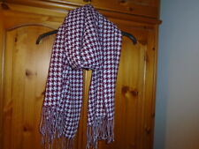 Burgundy, white and silver sparkle houndstooth check large rectangle scarf, NEW