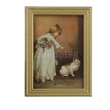 Dollhouse Miniature Framed Girl with Cat Kitten Painting Wall Picture 1:12