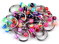 Lot Of 20X Mix Color Stainless Acrylic Ball Barbell Bar Navel Belly Button Ring