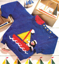 """Baby Childrens Nautical Sweater Toy Sailor  Boat  20"""" - 26"""" Knitting Pattern DK"""