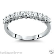 NEW RING 0.50 CT PRINCESS CUT DIAMONDS HALF ETERNITY WEDDING BAND IN PLATINUM