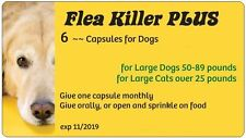 Flea Killer PLUS Meds for Dogs 50-89 lbs. 6 Yellow Capsules ~~ 6 month supply