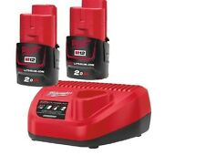 Milwaukee 12v M12B2 2 x 2.0ah Lithium Ion Battery & C12C 12v Charger - TWIN PACK