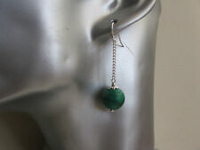 Genuine Natural Green Malachite long Drop Sterling Silver Earrings Cosmic Rocks