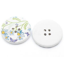 10 Delicate Blue Daisy Flower 4 Holes Wooden Painted Sewing Buttons 30mm
