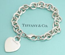 TIFFANY&Co Heart Tag Charm Bracelet Sterling Silver 925 Bangle #402