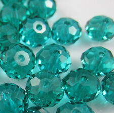 Jewelry Faceted 30pcs Rondelle glass crystal 5040 6x8mm Bead Peacock green F8Q28