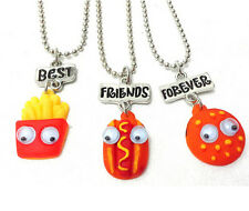 NEW BEST FRIENDS FOREVER Fries Hot dogs Hamburgers 3 Pendants Necklace BFF