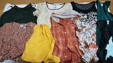 HUGE LOT OF 9 WOMEN'S JUNIOR'S DRESS SHIRTS T-SHIRT BLOUSE SWEATER USED NEW Sz M