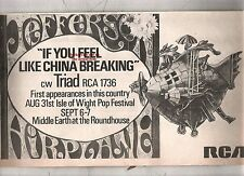 """JEFFERSON AIRPLANE Like China Breaking 1968 UK Press ADVERT 12x8"""""""