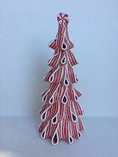 """11"""" PEPPERMINT CLAY TREE FAKE CANDY XMAS DECOR TREE GIFT TABLE TOP VILLAGE NEW"""