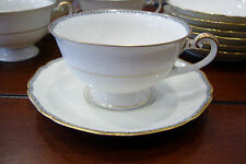 Hutschenreuther-Hohenberg 18CM14 -Germany- Tea Cups & Saucers Ivory/Gold Trim
