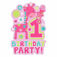 8 Wild Fun To Be One Pink Girl's 1st Birthday Party Invitations plus Envelopes