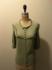 Louis Vuitton Size M Pale Green Cashmere Knit Sweater w/Silver Buttons