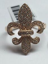 14k Rose Gold Solid Fleur De Lis Diamond Cocktail Right Hand Ring Size 7