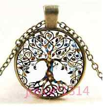 Vintage Living Tree of Life Cabochon bronze Glass Chain Pendant Necklace#XP-1252