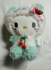 Sanrio Hello Kitty Wearing white and green with pink Bow Plush Doll 13""