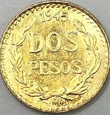 1945 Dos Pesos Mexican Gold Coin 900 Fine Gold