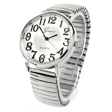 Silver Large Face Geneva Stretch Band Women's Watch