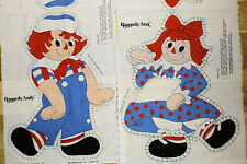 2 Vintage Bobbs-Merrill Doll Toy Pillow Fabric Panels- 20' RAGGEDY ANN & ANDY