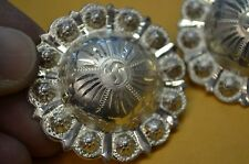 STERLING SILVER Fleming 214 Floral Engraved Horse Saddle Conchos Rosettes Pair