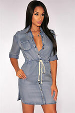Abito aperto camicia Spacco jeans Scollo Gonna Corda Button Down Denim Dress