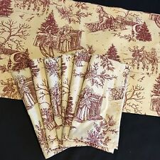 Victorian Christmas Ivory & Red Toile Table Runner And 6 Napkins By Park Designs