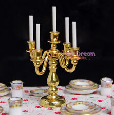 1:12 Dollhouse Dinning Room 5 Arms Candle Holder Candle Stick With Gold Plated
