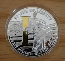 """2010 Uncirculated Proof Liberty """"L"""" Commemorative Coin- Silver Plated w/Gold"""