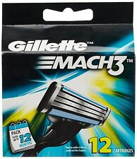 12 Gillette Mach3 Blades Genuine Cartridges Mach 3 Shaving Blades