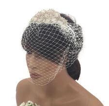 Stile retrò anni'20 Cerchietto Fascinator Con Perline Color Crema Con Design Floreale Netto Nuziale