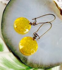 Sale! Lemon Yellow Flower Czech Glass Vintage Antique Estate Old Earrings