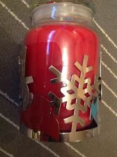 Yankee Candle Silver Red Snowman Christmas Jar Sleeve fits Medium or Large Jar
