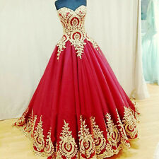 Custom Red Sleeveless PromGown Gold Applique Tulle Long Quinceanera Formal Dress